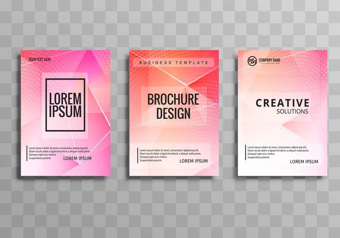 Diseño de plantilla de polígono colorido folleto de negocio moderno conjunto