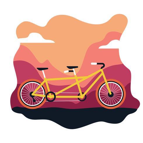Ilustración plana de bicicleta tándem