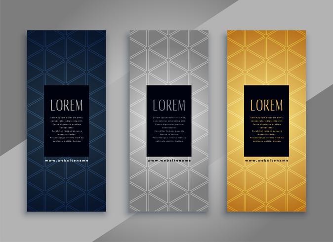 carte verticali vintage premium o banner con motivo di design