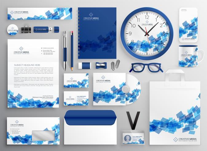 diseño de conjunto de material publicitario azul abstracto