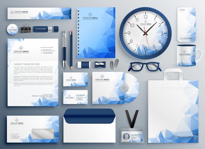 conjunto de material publicitario azul abstracto