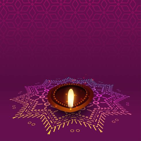härlig diwali diya med rangoli design