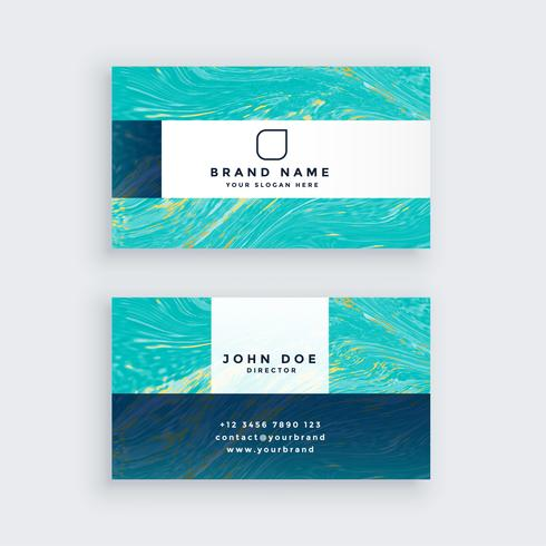 plantilla de tarjeta de visita de mármol profesional azul impresionante
