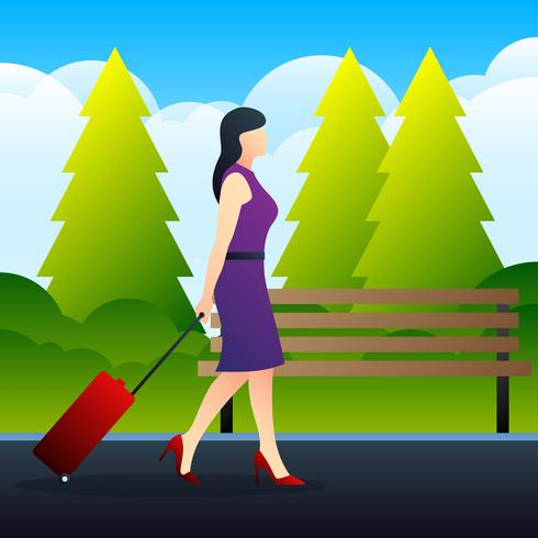 Young Elegant Woman With Luggage Suitcase Illustration