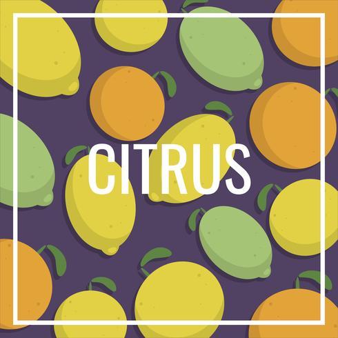 Ilustración de patrón Vintage Citrus Lemon Fruits