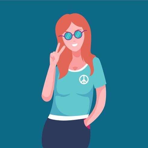 Ilustración de mujer en pose de mano de paz