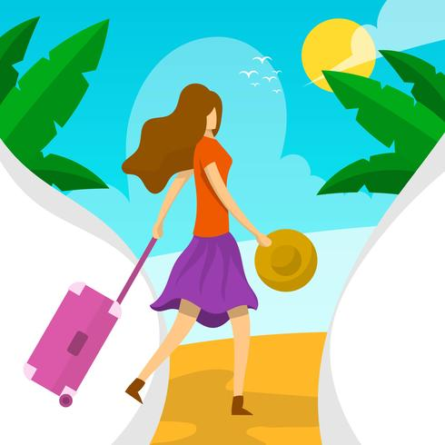 Plat femme avec valise plage illustration vectorielle