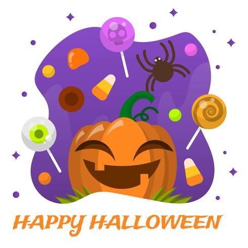 Flache Halloween-Süßigkeit mit Lächeln-Kürbis-Vektor-Illustration