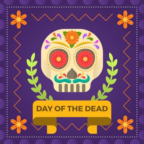 Giorno piano del cranio dello zucchero di morte con l'illustrazione di vettore dell'ornamento