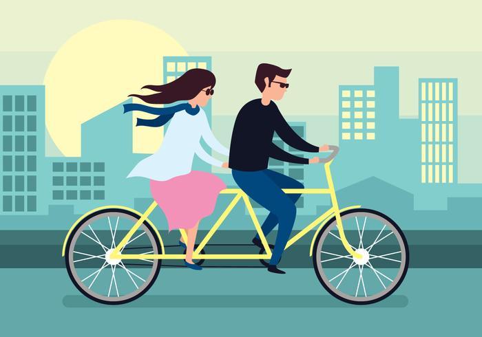 Tandem fiets vectorillustratie