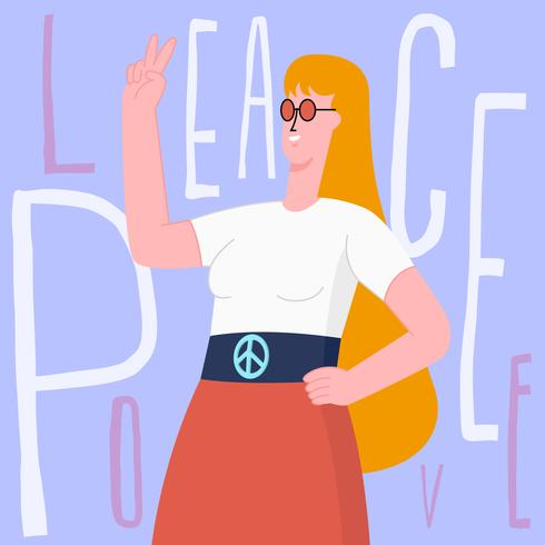 Young Pretty Girl Making Victory Hand Symbol Illustration