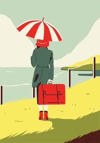 Femme avec valise vector design