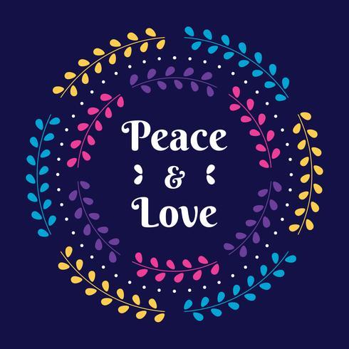 Paz e amor convite de férias com ilustração Floral grinalda