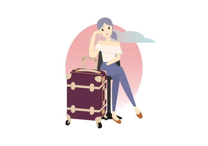 Kvinna Sitter Med Väska