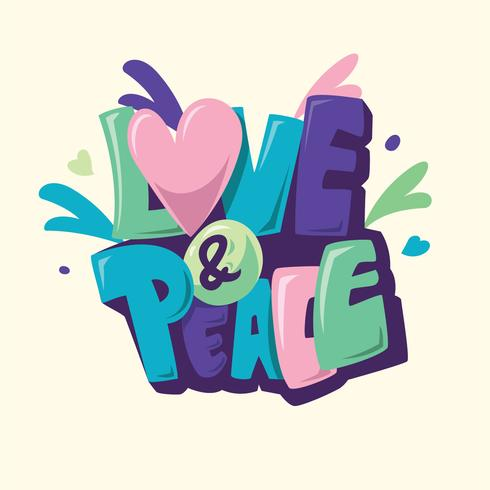 paz y amor vector