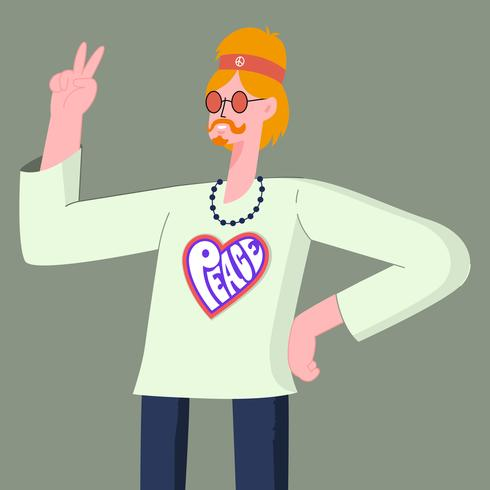 Smilling Hippie In Sunglasses Showing Two Finger Victory Hand Sign Illustration