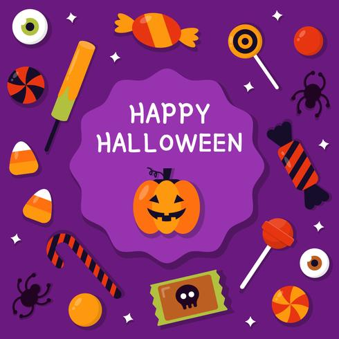 Glad Halloween Med Candy Vector