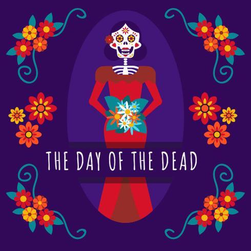 Caveira mexicana dia da menina do fundo morto