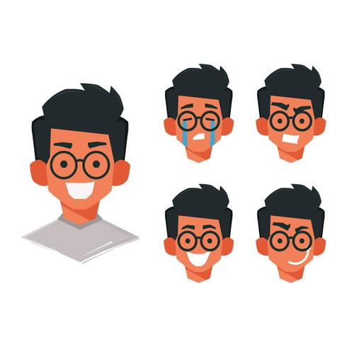 Face Emoticon Boy with Glasses Vector Collection