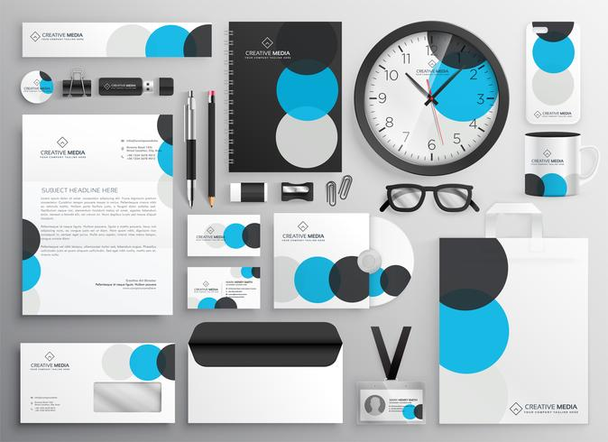 conjunto de artigos de papelaria círculo criativo para branding de negócios