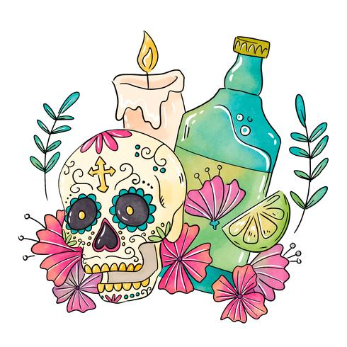 Sockerskalle Med Stearinljus Och Tequila