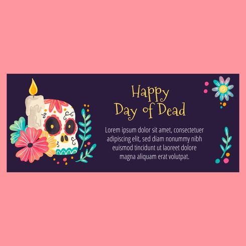 Cute Banner with Sugar Skull And Flowers vector