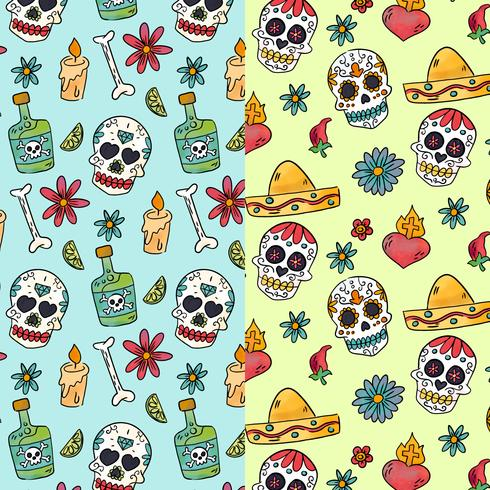 Cute Pattern Day Of Dead con Sugar Skulls