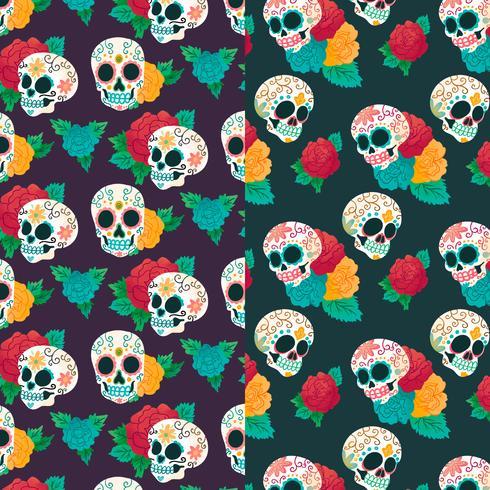 Patrón de acuarela Día de muertos con cráneo y flores de azúcar