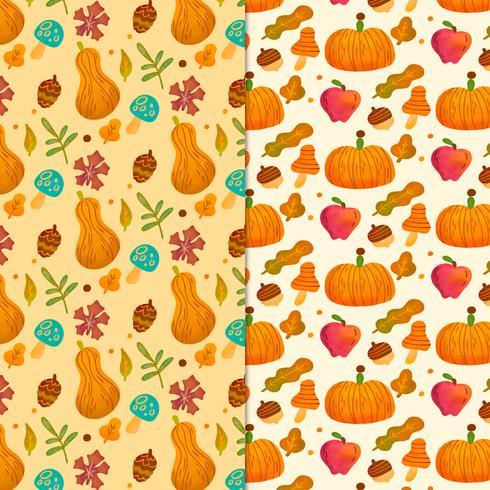 Lindo patrón de caídas con hojas, calabaza, champiñones y adornos