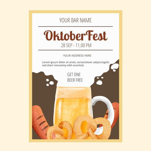 Flyer de acuarela Oktoberfest vector