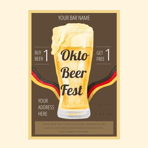 Flyer dell'acquerello Oktoberfest