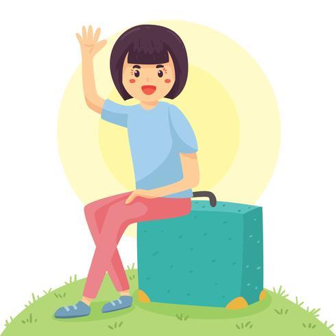 Mujer con Vector de maleta