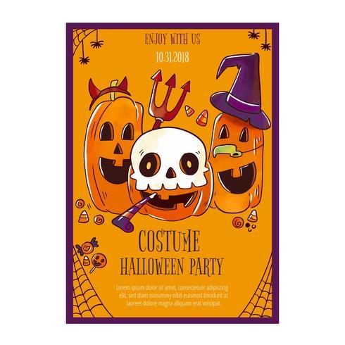 Flyer de Halloween bonito com abóboras