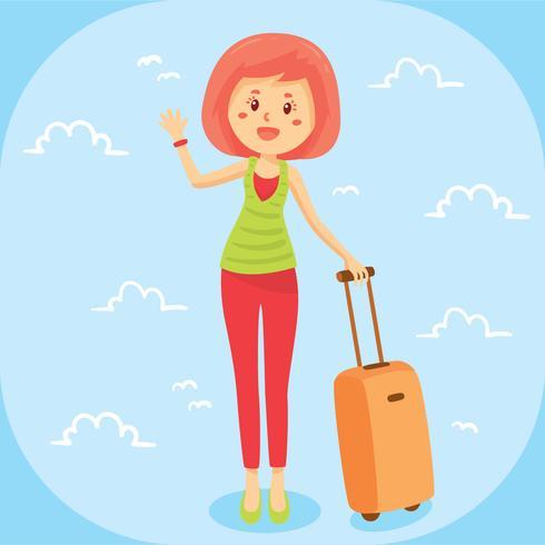Hermosa mujer con Vector de maleta