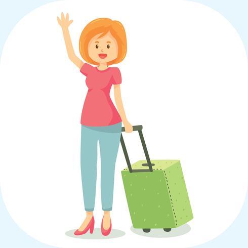 Linda mujer con el vector de maleta