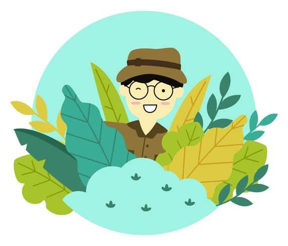 Man Character in the Jungle Vector