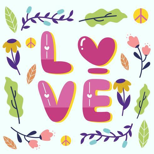 Paz y amor Diseño con elemento floral Vector