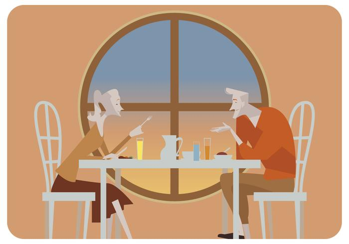 Par romântico, em, restaurante, vetorial