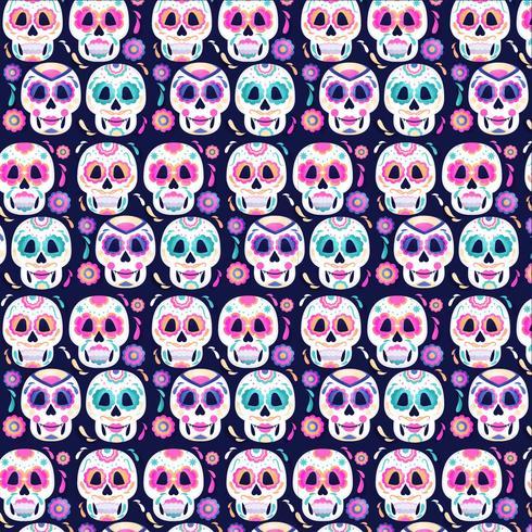 Vectordag van het dode schedelspatroon