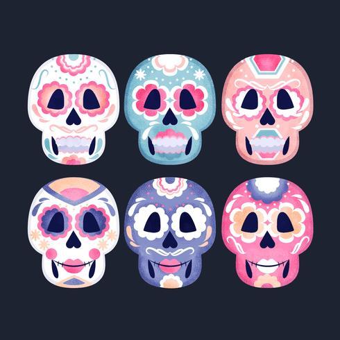 Vector collectie van suiker schedels