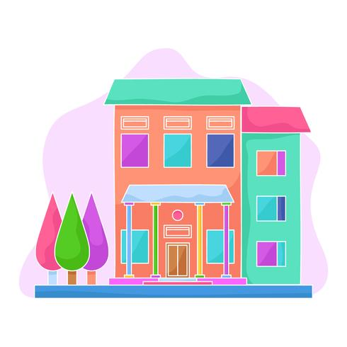 Unique House Exterior Watercolor Vectors