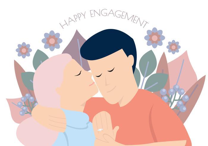 Feliz pareja floral de compromiso