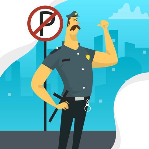 Caractère de policier plat avec stationnement Vector Illustration