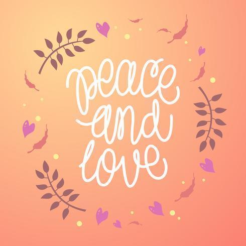Mão Lettering Paz E Amor Vector