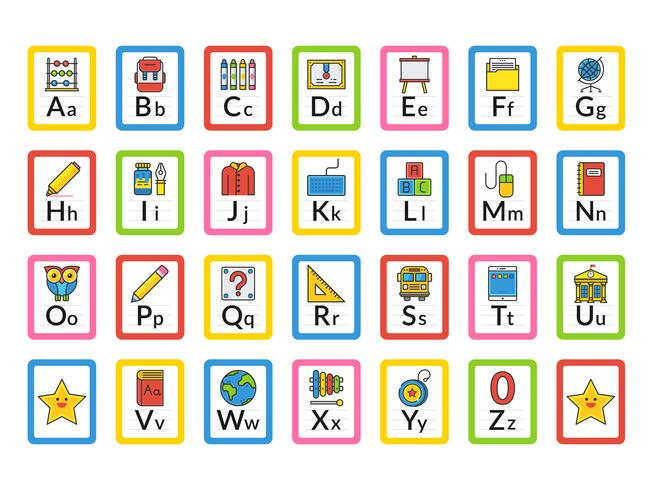 Cartões temáticos do alfabeto do alfabeto da escola