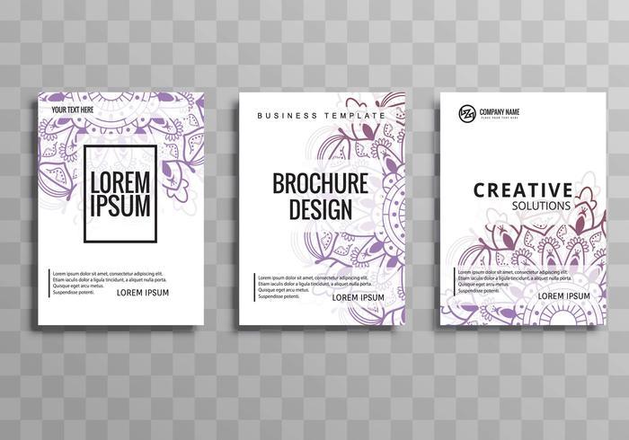 Conjunto de modelo de brochura de negócios floral abstrato