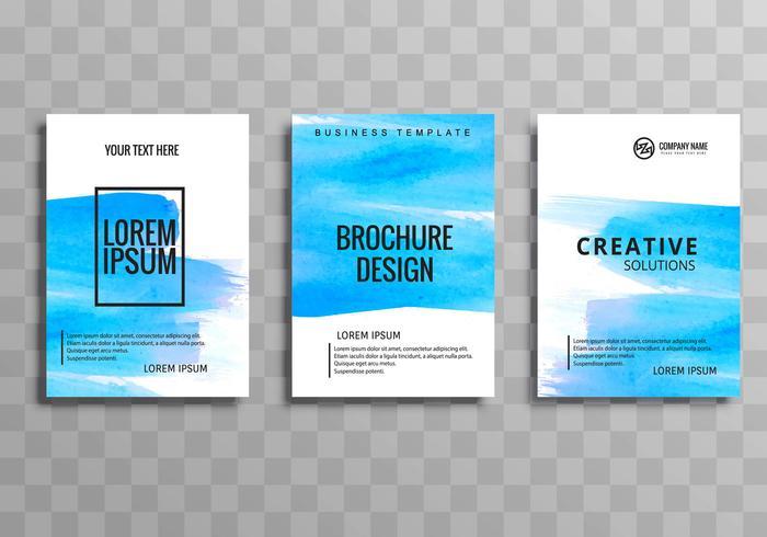Conjunto de modelo moderno azul aquarela brochura de negócios