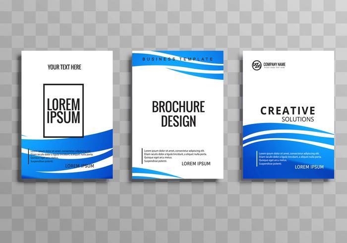 Moderne blauwe golf zakelijke brochure sjabloon set