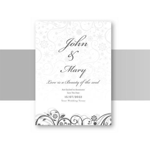 Diseño floral abstracto elegante de la plantilla de la tarjeta de la invitación de boda