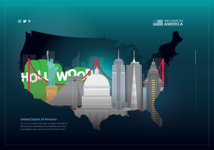 Landmark kaart reizen Poster van de Verenigde Staten vector